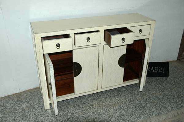 Round Hardware on Chinese Sideboard with Four Drawers and Two Cabinets