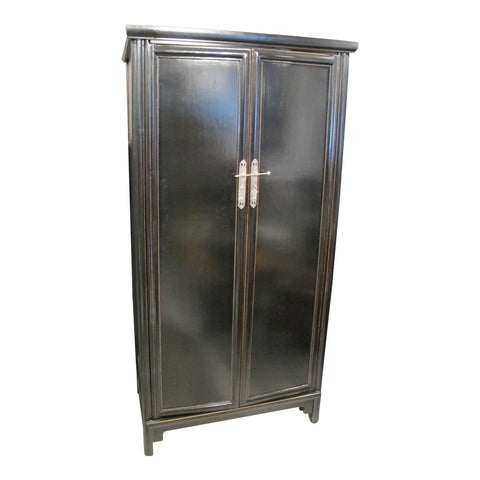 Black Lacquer Chinese Armoire