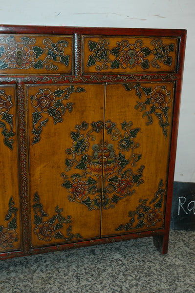 Antique Tibetan Painted Cabinet with drawers and cabinets