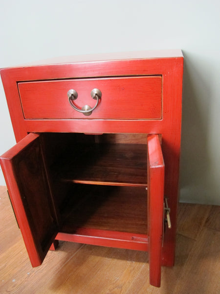 Chinese Style Red Lacquer Bedside Chest