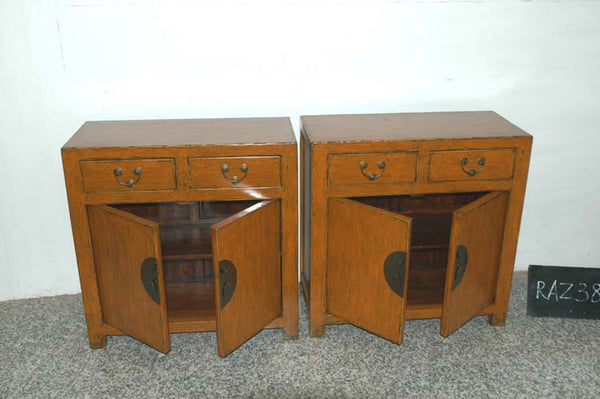 Two Door Cabinets on Chinese Antique Wooden Chests with Drawers Refinished with Orangey Hand Rubbed Mongolian Colored Lacquer Finish