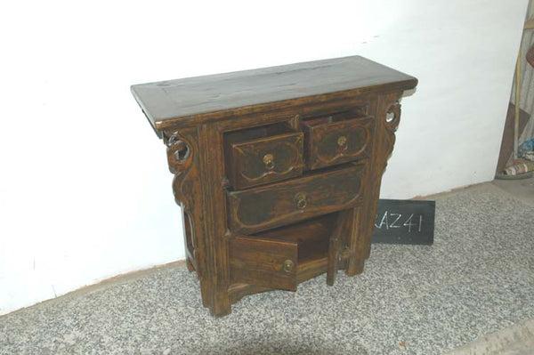 Two Door Cabinet on Antique Chinese Wooden Cabinet with Carved Drawers and Spandrels