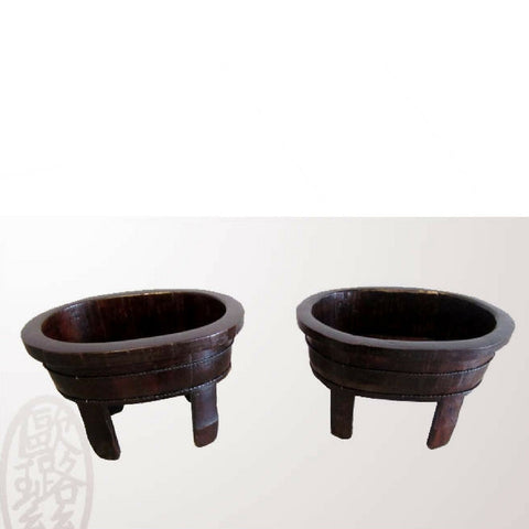 Black Antique Chinese Wooden Painted Oval Baby Baths