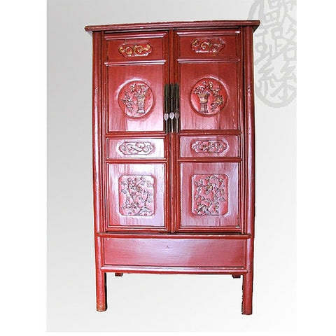 Chinese Antique Carved Red Wooden Tall Armoire Cabinet