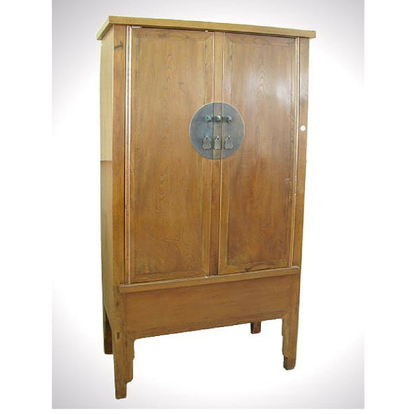 Chinese Antique Natural Wood Tone Tall Armoire Cabinet