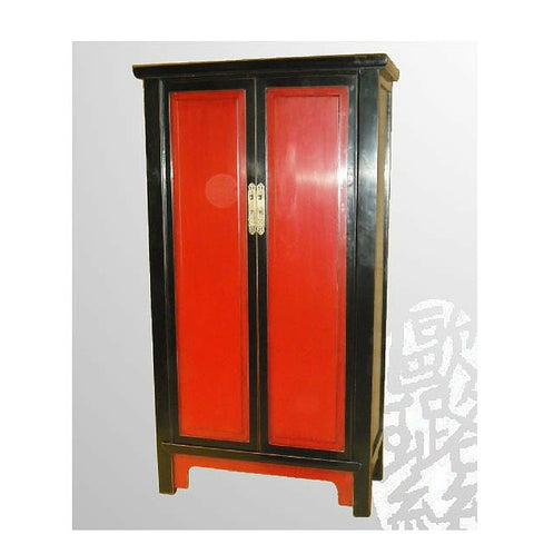 Chinese Antique Red and Black Large Cabinet Armoire