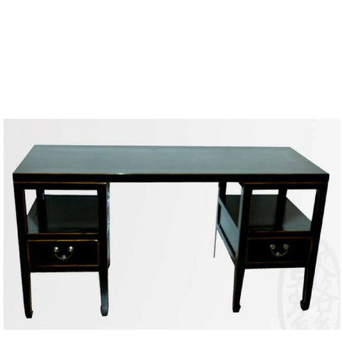 Chinese Antique Restored Modernized Wooden Elm Wood Black Painted Lacquered Desk with Drawers