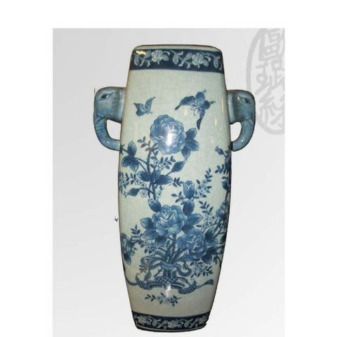 White and Blue Flower Decorated vase with elephant Handles