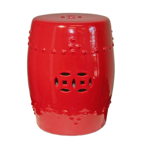 Bright Red Chinese Decorative Accent Garden Stool