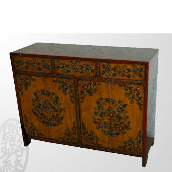 Antique Tibetan Cabinet with removable shelf and detailed paintings with three drawers
