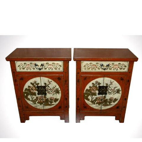 Chinese ANtique Decorated Painted Wooden Cabinets with Drawers