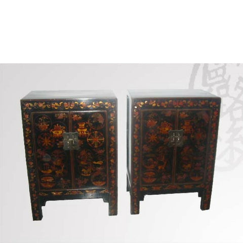 Black Decorated Antique Chests