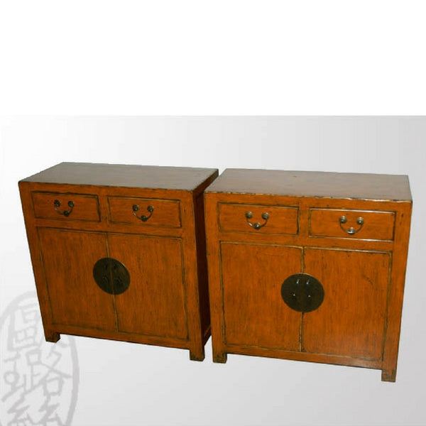 Original Patina on Antique Chinese Wooden Cabinets with Drawers