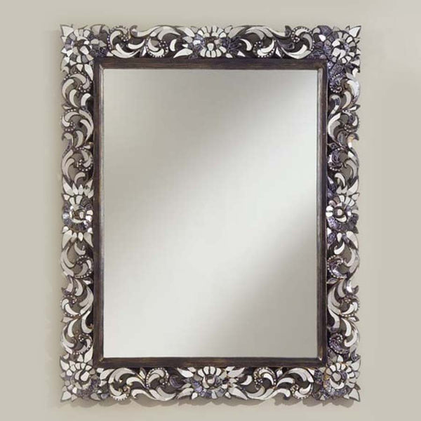 Midsized Rectangular Ornate hand Carved Glass Mirror