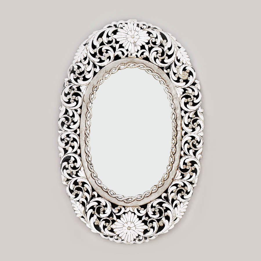Oval Handcut Glass Mirror Silver