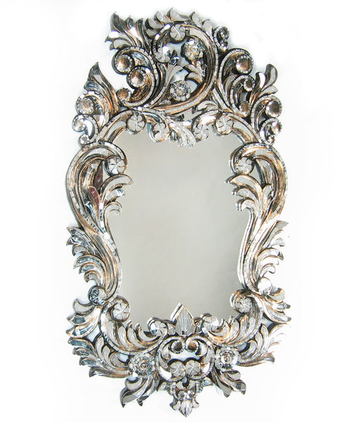 Ornate Handcut Scroll Mirror on Solid Carved Teak