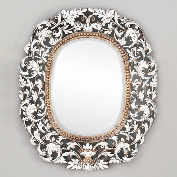 Hand cut Glass Ornate Scroll Mirror
