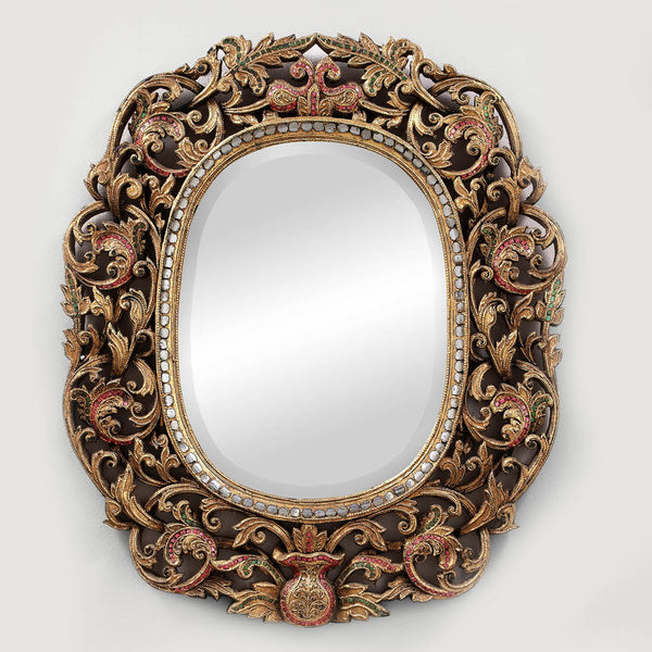 Brown Framed Hand Cut glass mirror