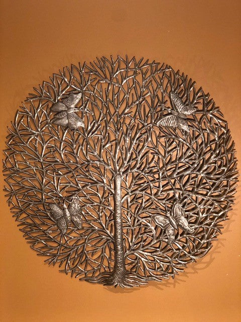Round Tree of Life with Butterflies
