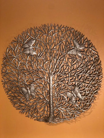 natuarl tree of life with butterflies, made in haiti from recycled oil drums