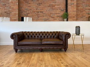 british made leather tufted chesterfield sofa