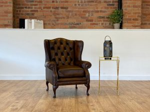 Highclere Chair in Antique Brown Leather