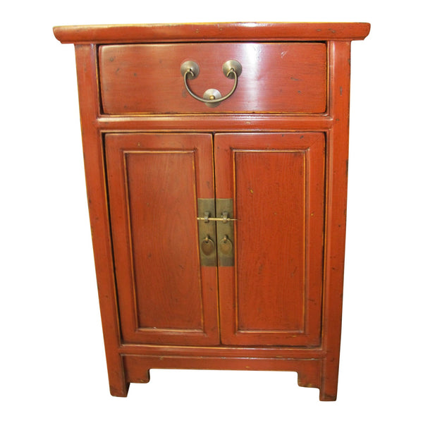 Chinese Red Lacquer Elm Side Chest