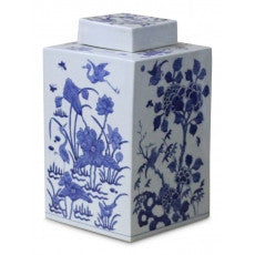 Square Blue and White Lidded Jar