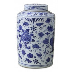 Round Blue and White Jar with Lid