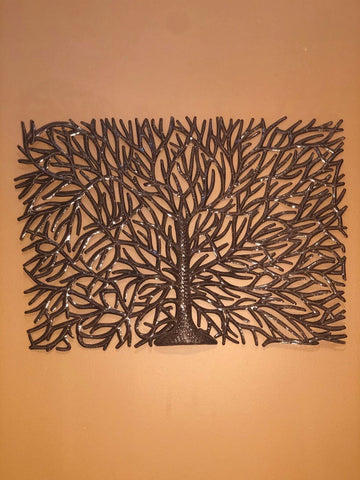 tree of life made in haiti from recycled ironwork