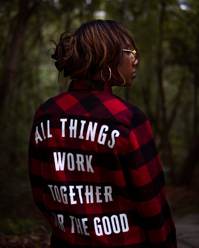 All Things Work Together Adult Plaid Shirt