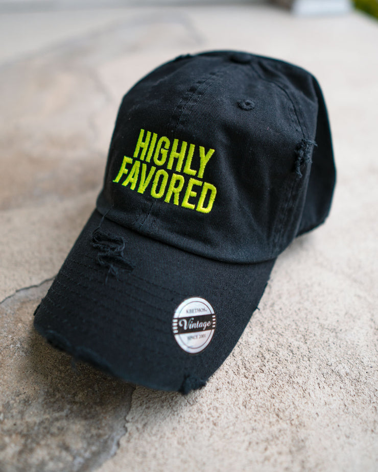 Highly Favored Adult Dad Hat (Distressed)