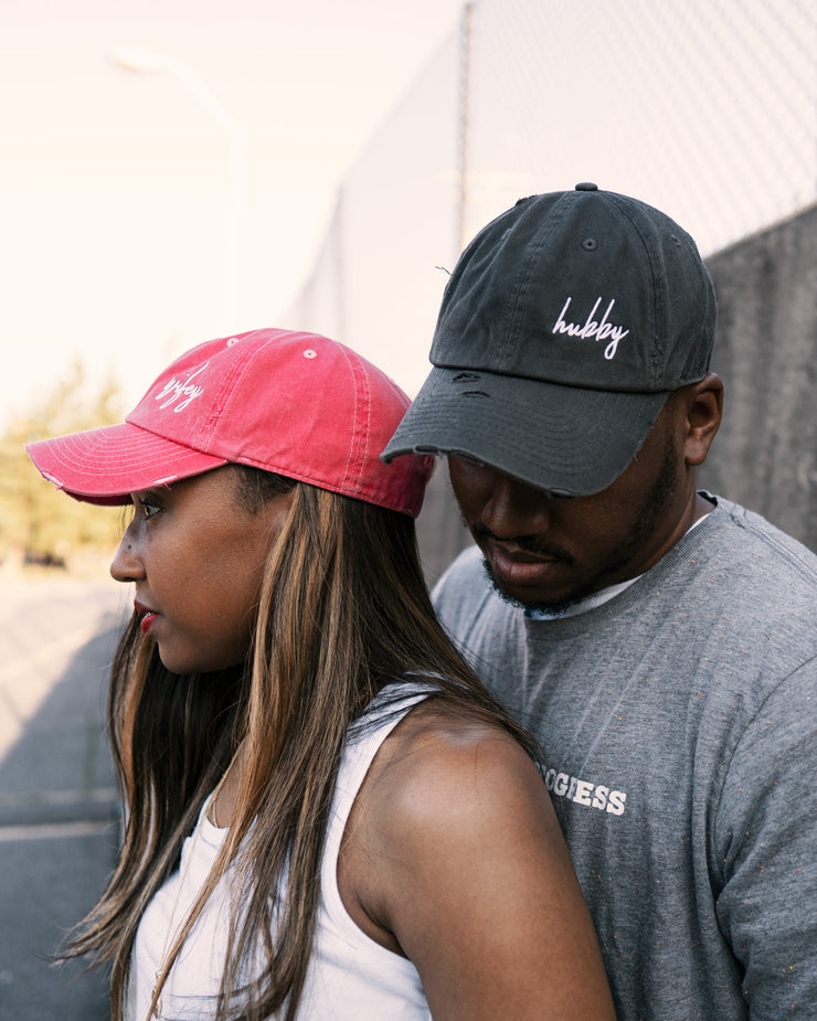 Hubby (Script) Adult Dad Hat (Distressed)