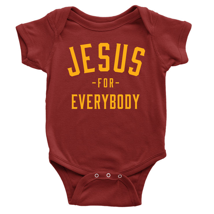 Jesus For Everybody Onesie - Beacon Threads - 3-6M / Maroon w/ Gold Lettering - 1