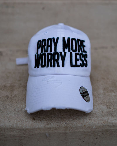 Pray More Worry Less Adult Dad Hat (Distressed)
