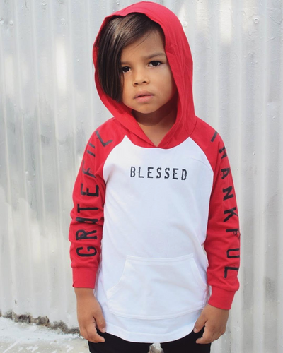 Grateful Thankful Blessed Kids Lightweight Hoodie