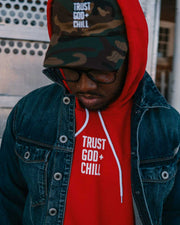 Trust God + Chill 2pc (Red Hoodie + Camo Dad Hat)