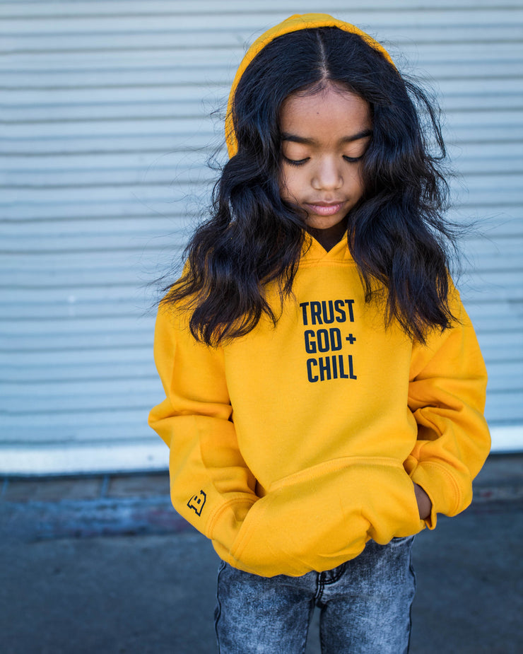 Trust God + Chill Kids Hoodie (Gold)