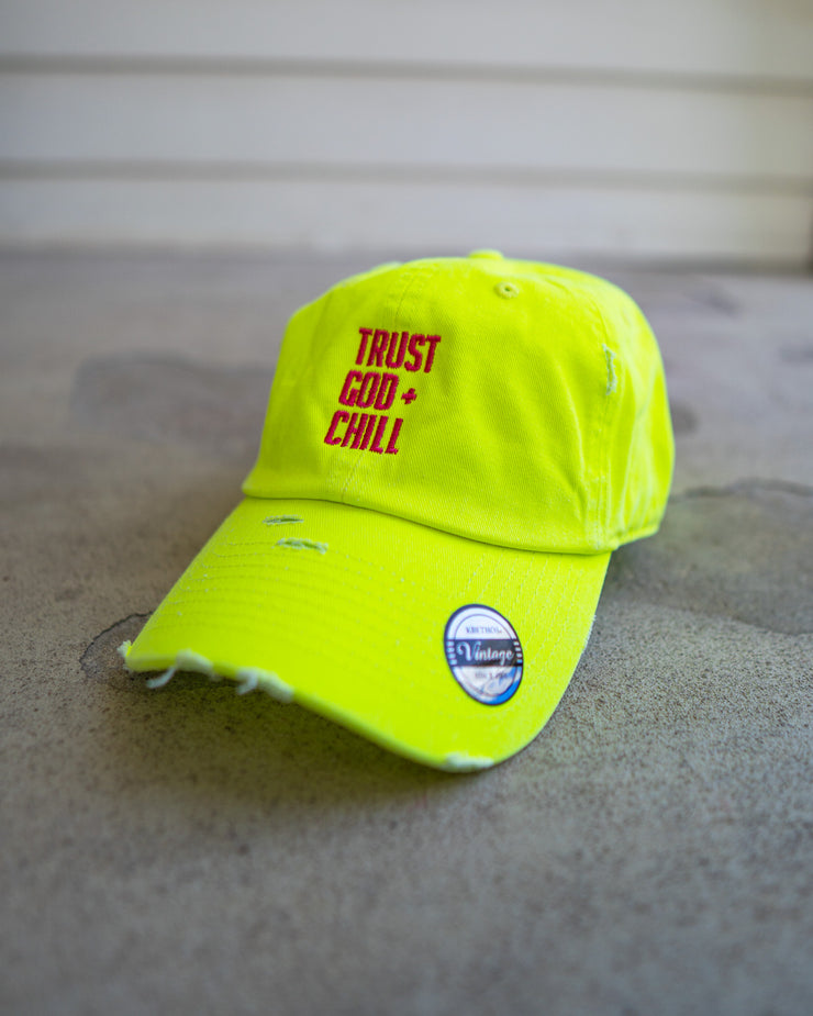 (Neon) Trust God and Chill Adult Dad Hat (Distressed)