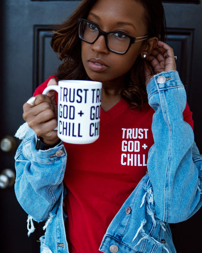 Trust God + Chill 2pc Special (V-Neck Tee + Mug)