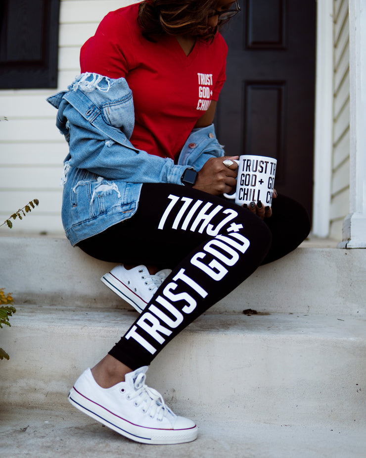 Trust God + Chill 3pc Special (V-Neck Tee + Mug + Leggings)