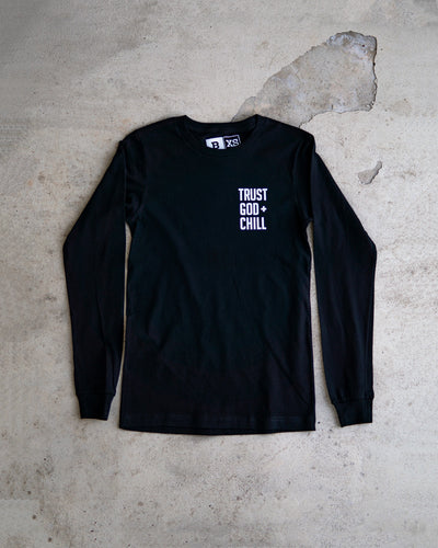 Trust God + Chill Adult Pocket L/S Shirt