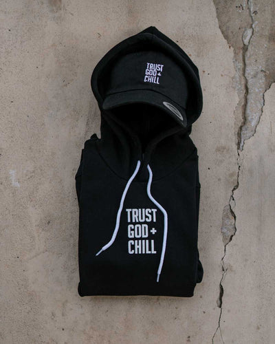 Trust God + Chill 2pc (Black Hoodie + Black Dad Hat)