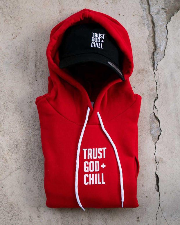 Trust God + Chill 2pc (Red Hoodie + Black Dad Hat)
