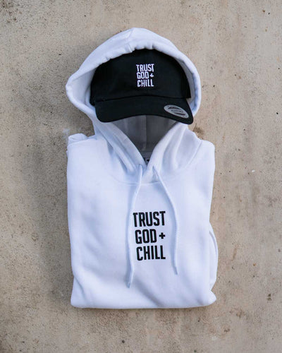 Trust God + Chill 2pc (White Hoodie + Black Dad Hat)