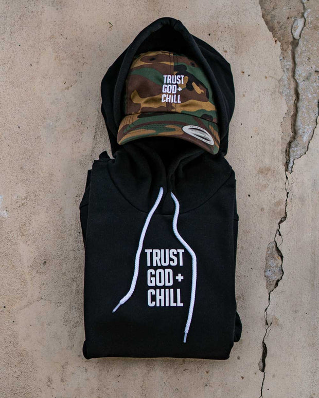 Trust God + Chill 2pc (Black Hoodie + Camo Dad Hat)