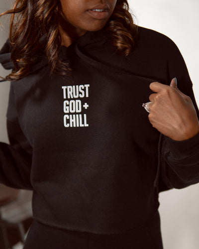 Trust God + Chill Women's Cropped Fleece Hoodie