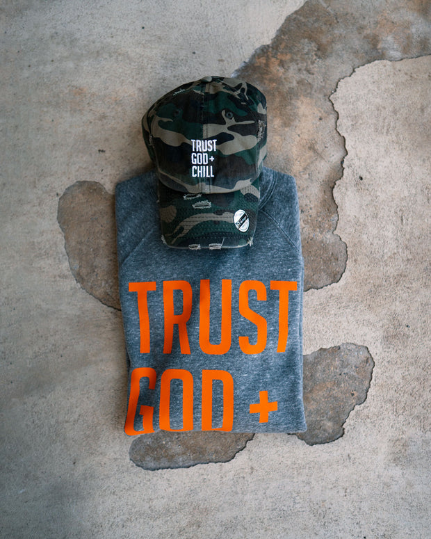 Trust God + Chill 2pc (Grey/Orange Sweatshirt + Distressed Camo Dad Hat)