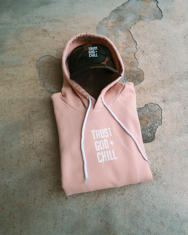 Trust God + Chill 2pc (Peach Hoodie + Camo Dad Hat)
