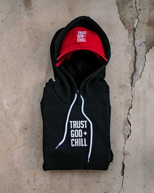 Trust God + Chill 2pc (Black Hoodie + Red Dad Hat)